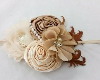 Cream tan rosette feather chiffon headband