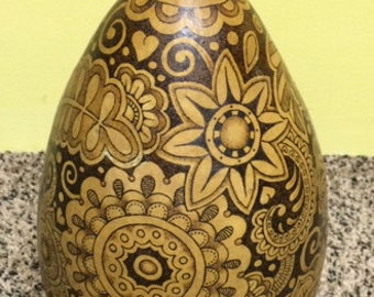 Huge Gourd Decorated with Pyrography