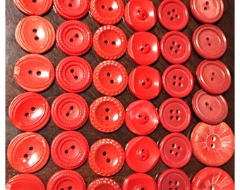 Vintage Button Collection in Red, Red buttons, Old Buttons, Button Lot in Reds, Lot of buttons