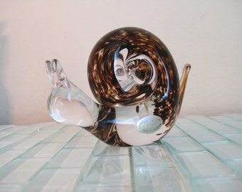 Wedgewood Snail Paperweight Glass Signed - Handblown Clear Glass Paperweight