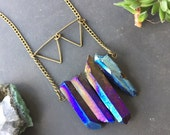 Quartz necklace - titanium quartz necklace - healing crystal necklace - gemstone necklace - boho chic necklace - raw crystal necklace