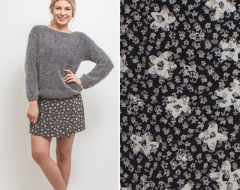 90s skort vintage GRUNGE 1990s MINI skirt FLORAL ditzy floral high waist nineties rayon grunge wrap skirt