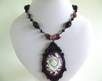 Victorian eggplant cameo with rose