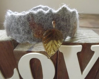 Felted Fibre Art, Cuff Bracelet with leaf charm and button fastening - Boho - Festival Wear