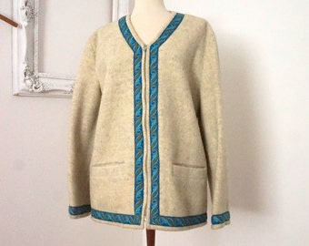 Vintage Norwegian Felted Wool Ivory White Sweater Jacket with Embroidered Trim Women Sz L