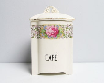 Art Deco Vintage ceramic kitchen canister, kitchen container, coffee café, French Mina, rose pattern, cream colored, gold rims, H 20cm/8 in