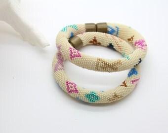 """Modern Jewelry Set - """"LOUIS"""" , 2 Beaded Crochet Rope Bracelets, Beaded rope, Beaded Tube Bracelet, Louis Vuitton Motive"""