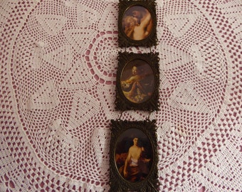Vintage Italian Renaissance Revival  Brass Picture Frames  Circa 1960s