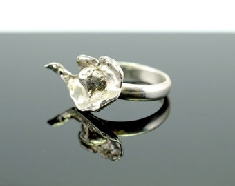 Water-cast silver ring