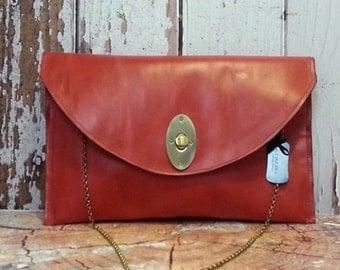 Envelope big leather clutch, Oversize red clutch, Large red clutch, Envelope big purse, Red Italian leather, Large chic envelope purse