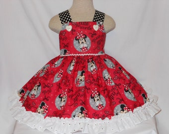 """Minnie Mouse Dress, Custom Boutique Minnie MouseDress, Unique,HandmadeRuffled, DisneyMinnie """"Too Cute For Words Dress, for girls of all ages"""