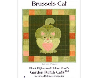 "Pattern ""Brussels Cat"" Applique Quilt Block Pattern by StoryQuilts (78) Paper Pattern"