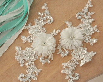 Beaded bridal lace applique, rosett wedding applique for bridal sash, wedding belt , headpiece