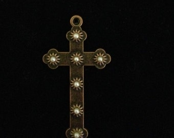 6 Pieces Cross charms, with white pearl accents 45x35 Antique Copper cross, light weight cross charms 28-5-CP