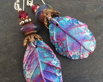 Fairy Leaf Earrings, Artisan Polymer Charms, Artisan Lampwork, Brass Filigree, Fairy Earrings