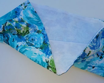 Toy Doll Sling. Pouch Baby Doll Carrier Blue watercolor floral READY TO SHIP