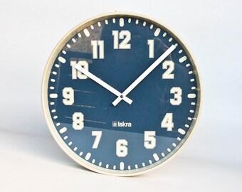 XLarge Vintage Industrial  Wall Clock /  School Clock /  80's /  Iskra Yugoslavia / Blue