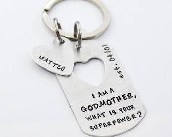 Godmother Personalized Keychain Gift   I am a Godmother, What is your Superpower?