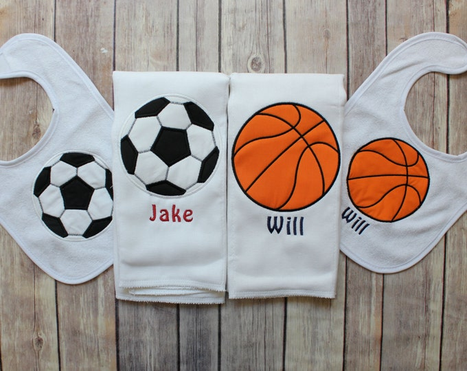 Personalized Baby Boy Twin Gift, Boy Twin Baby Shower Gift, Sports Baby Gift, Basketball Twin Gift, Twin Boy Burp Cloth, Soccer Baby