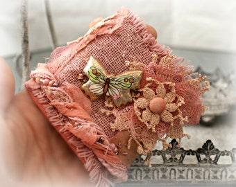 Fabric Boho Bracelet, Bohemian Wrist Cuff, Vintage lace, Vintage Crochet, Ceramic Butterfly, Romantic Bracelet, Textile Jewelry.