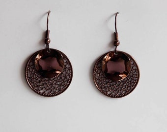 Middle ornament earrings Brown