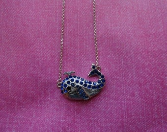 Whale blue  silver crystal  necklace