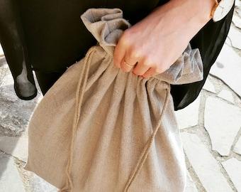 Linen laudry bag, linen lingerie bag, grey laundry bag, reusable storage bag with handmade cord, large laundry bag, large linen laundry bag