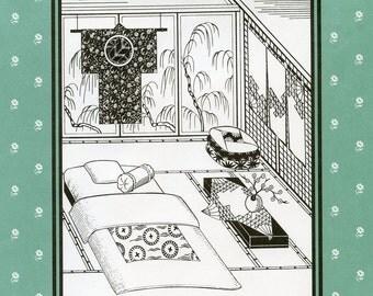 Folkwear Japanese Interior Quilted Bedding, Floor Cushions, Curtains, Sleeping Kimono Sewing Pattern # 305