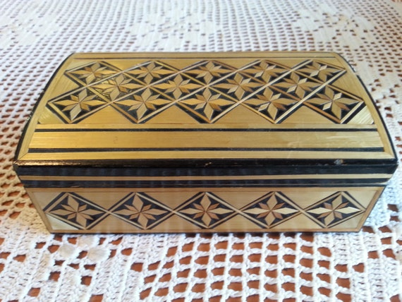 Vintage Jewelry Box - Soviet Vintage Wooden Handmade Jewelry Box Made in Latvia in 1970s.