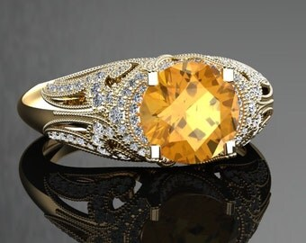 Yellow Sapphire Engagement Ring Yellow Sapphire Ring 14k or 18k Black Gold VS1YSY