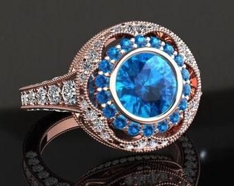 Blue Topaz Engagement Ring Blue Topaz Ring 14k or 18k Rose Gold W33BU2R
