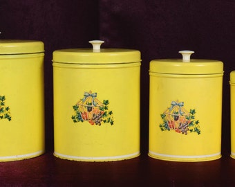 Vintage Yellow Tin Canister Set