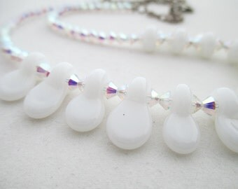 SALE - White Glass Tabs and Aurora Borealis AB Swarovski Crystal Choker Length Lampwork Glass Necklace