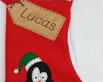 Personalised Christmas Stocking - Handmade- Red Penguin