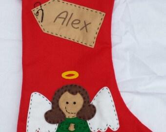 Personalised Christmas Stocking  - Handmade - Angel