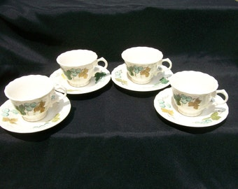 Metlox VINEYARD Vernon Ware CUPS & SAUCERS Set of 4