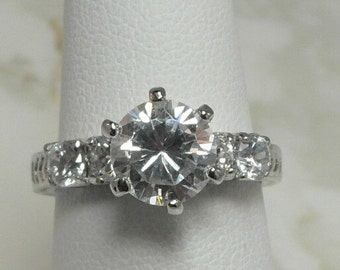 A Lovely Sterling Silver and CZ Ring