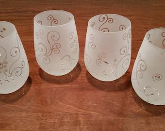 Sandblasted Wine Glasses
