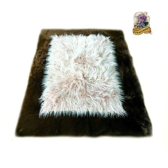 Brown & Pink Faux Fur Rug by FurAccents