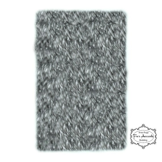 soft faux fur area rug gray spotted lynx shaggy by furaccents. Black Bedroom Furniture Sets. Home Design Ideas