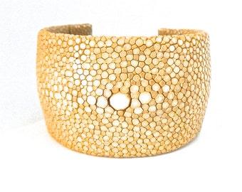 Leather cuff bracelet beaded beige shagreen