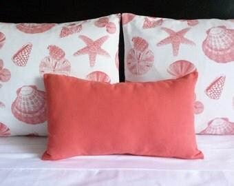 Bed Ensemble, Beach Decor Shams and Lumbar Pillow Cover Set, Coral Shells Bed Ensemble, Standard Pillow Shams Set, Coral Bedding