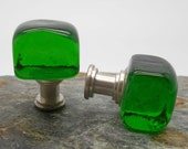Green Glass Cube Cabinet Knobs - Cube, Kitchen, Bathroom, Green, Glass Knobs, Chunky Knobs, Nautical, Beach