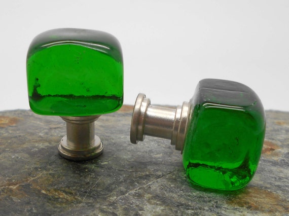 Knobs Glass Knobs Cabinet Knobs Green Glass Cube Cabinet