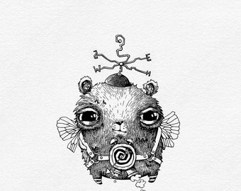 "Line Drawing - Steampunk Art - Black and White Art - Cute Drawing Giclee Print - Baby Boy Nursery Digital Print - ""Time-Traveller"""