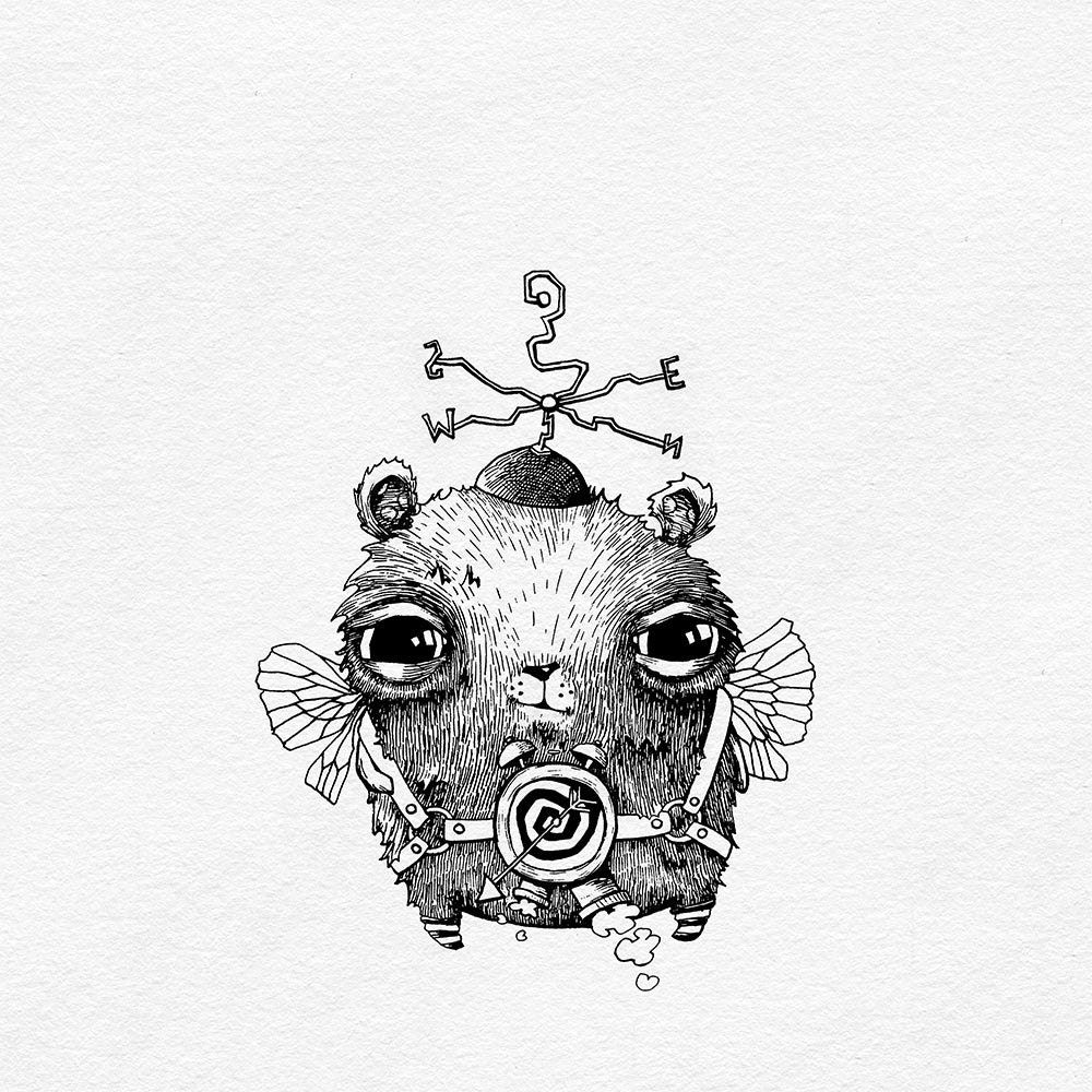 owl drawing digital print owl art giclee print ink drawing