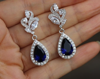 cz earring blue bridal earring sapphire earring dark blue earring bridesmaid earring