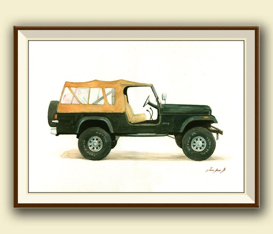 Old Postal Jeeps For Sale: PRINT Jeep CJ8 Scrambler Classic American Jeep Willys Truck