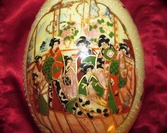 Satsuma Porcelain Egg Moriage Geisha Women