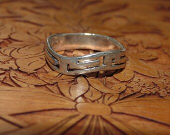 SR1456 Mens Pinky Rocker Biker Vintage Estate Sterling Silver Solid Band Etched Ring 2 grams 925 US Size 7 Jewelry Jewellery UK Size N